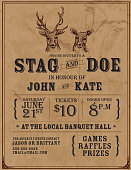 istock Elegant stag and doe engagement party invitation design template 467292871
