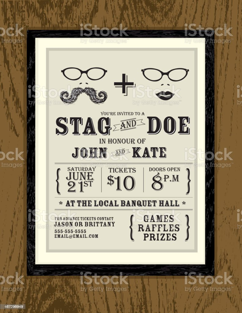 Elegant Stag And Doe Oak Wood Engagement Invitation Design Template