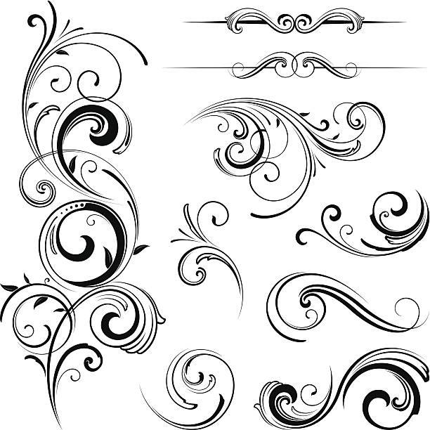 элегантные детали в виде завитков - закрученный stock illustrations