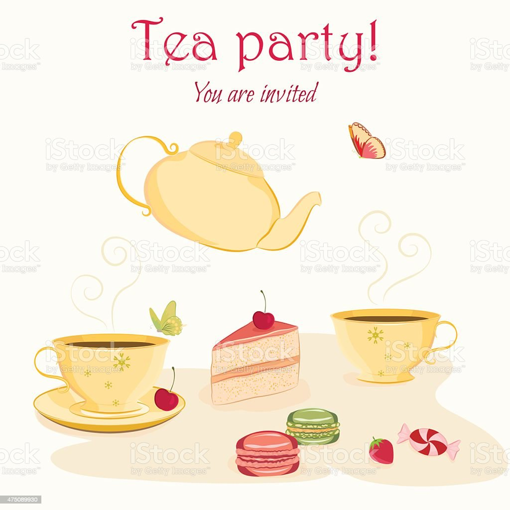 Elegant Tea Party Invitation Template With Teacups And Sweets Stock ...