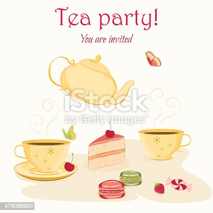 elegant tea party invitation template with teacups and