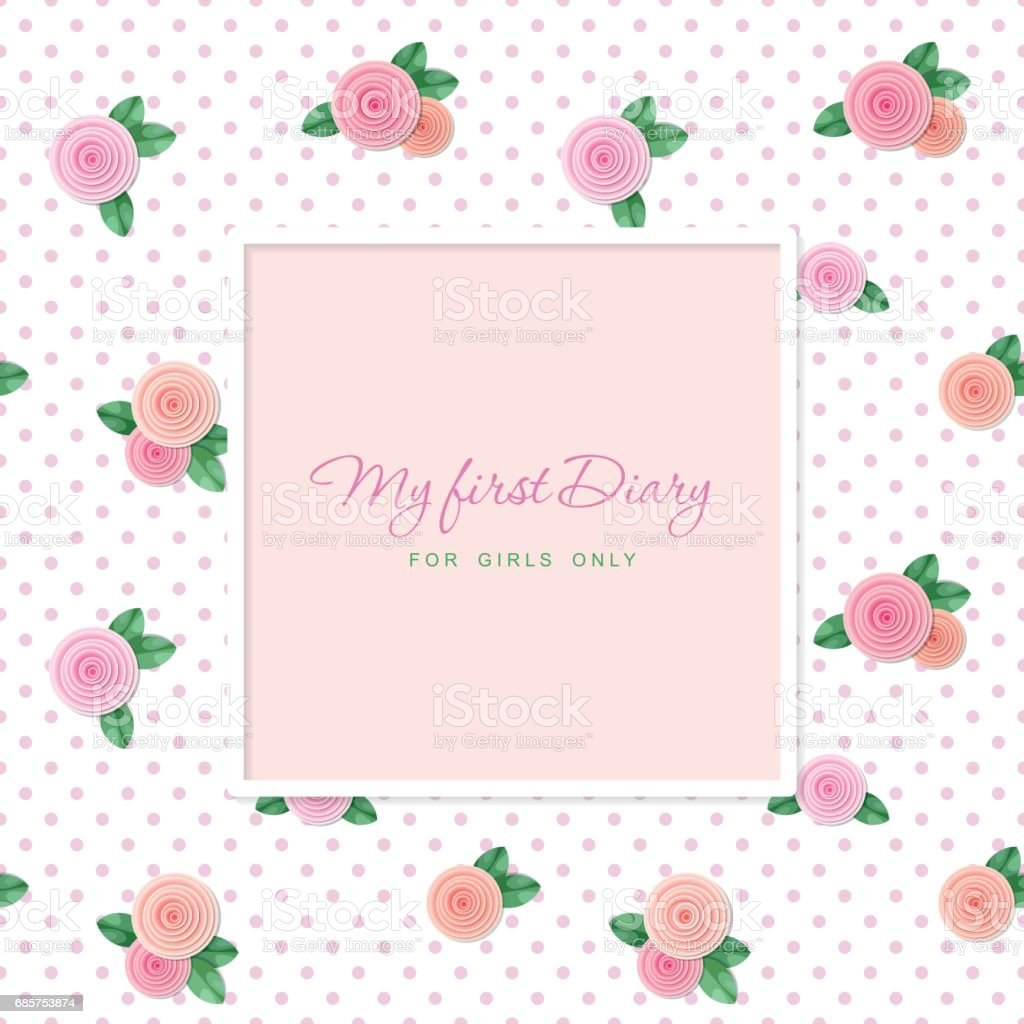elegant template design square frame with sample text seamless pattern with roses for