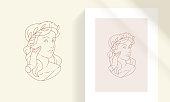 istock Elegant tender female with olive leaves wreath on head line art style vector illustration 1316239917