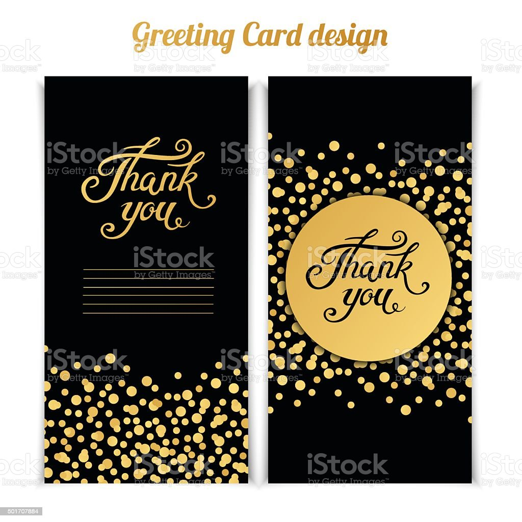 elegant thank you card template with golden bokeh dots