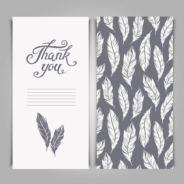 elegant thank you card template with silver feathers symbols. - thank you background 幅插畫檔、美工圖案、卡通及圖標