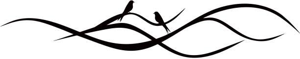 Elegant tree branch with two birds vector art illustration