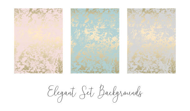 stockillustraties, clipart, cartoons en iconen met elegante trendy abstracte marmeren gold luxe texturen - patina