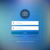 elegant UI login form design on blurred background