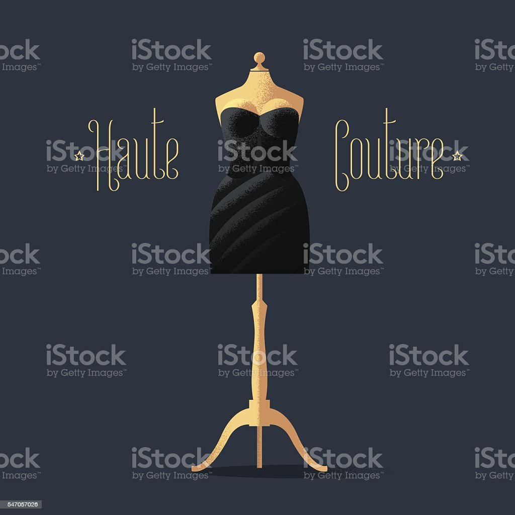 Elegant vector black dress for dinner, cocktail vector art illustration