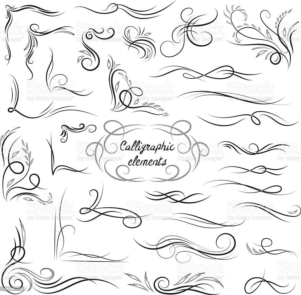 Elegant Vector Calligraphic Corners and Vignettes Set vector art illustration