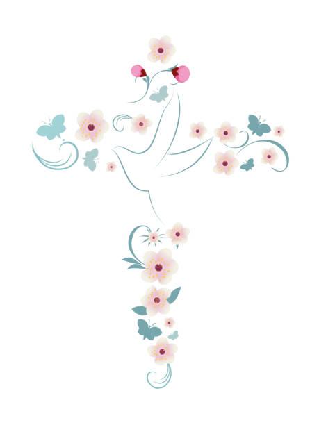 ilustraciones, imágenes clip art, dibujos animados e iconos de stock de cruz cristiana elegante vector aislado con mariposas y flores paloma rosa - comunión