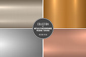 Elegant vector collection of polished metallic smooth textures. Color gradient iron backgrounds. Shiny brushed design.