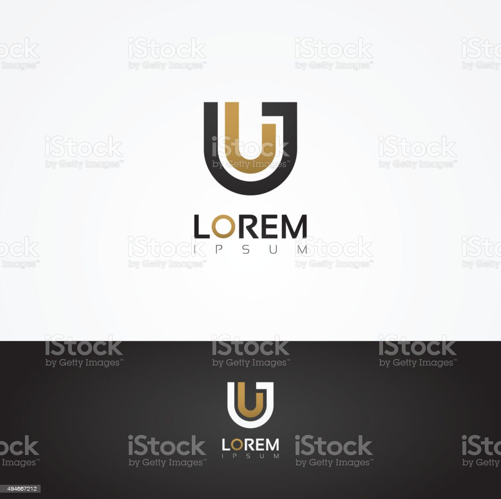 Elegant vector graphic alphabet / letter U vector art illustration