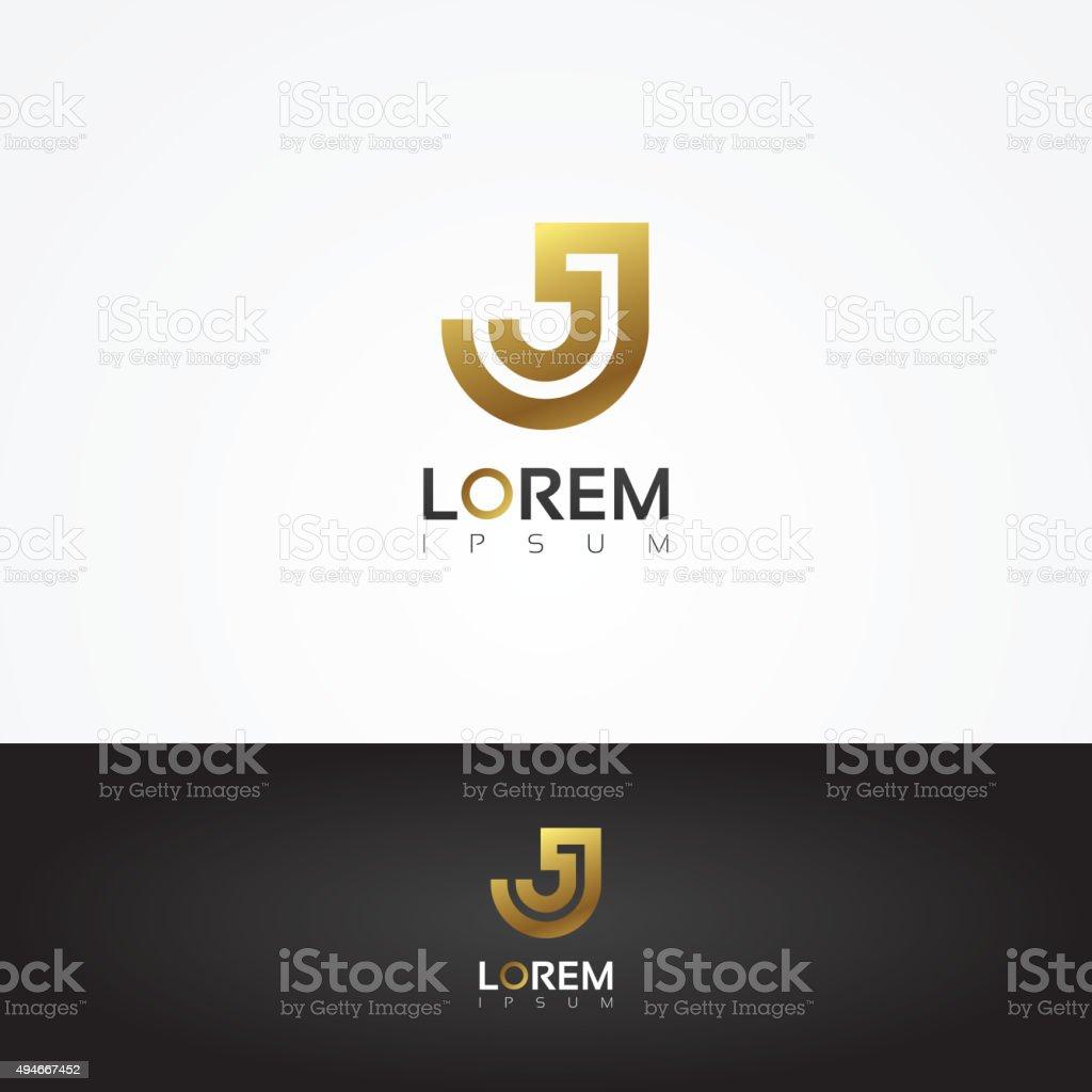 Elegant vector graphic gold alphabet symbol / letter J vector art illustration