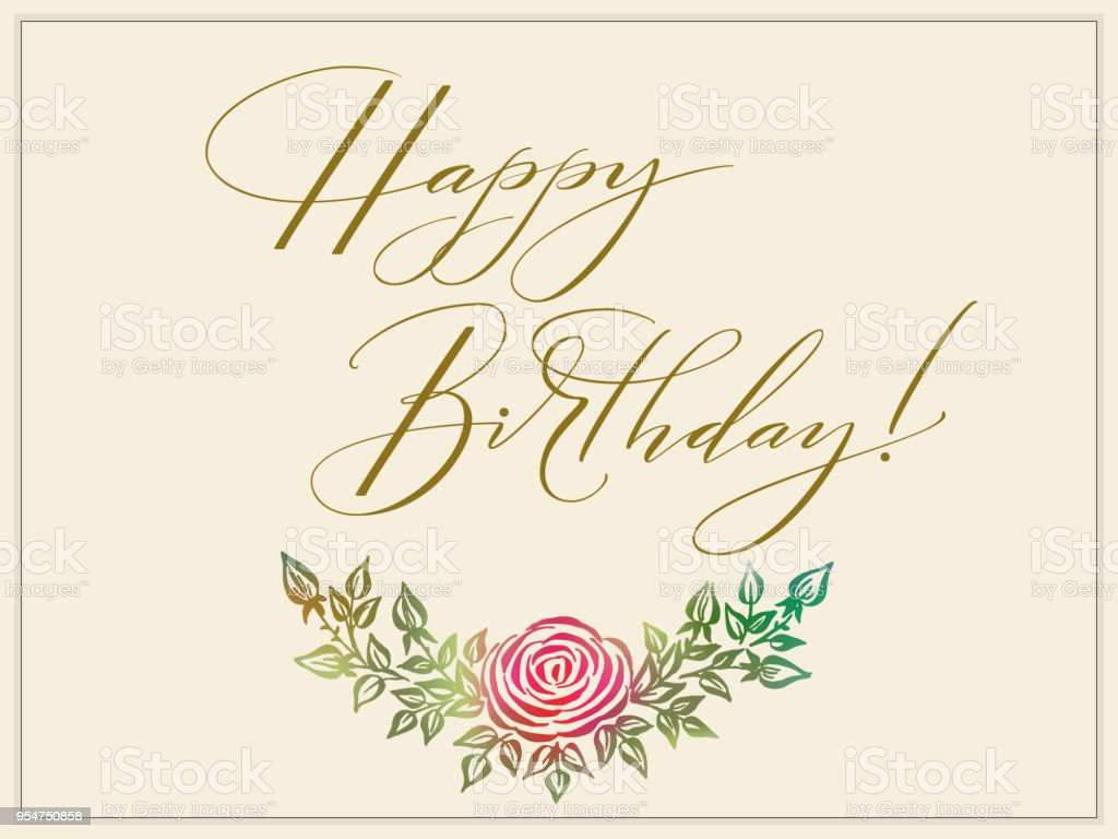 Elegant Vector Happy Birthday Card Vector Invitation Card