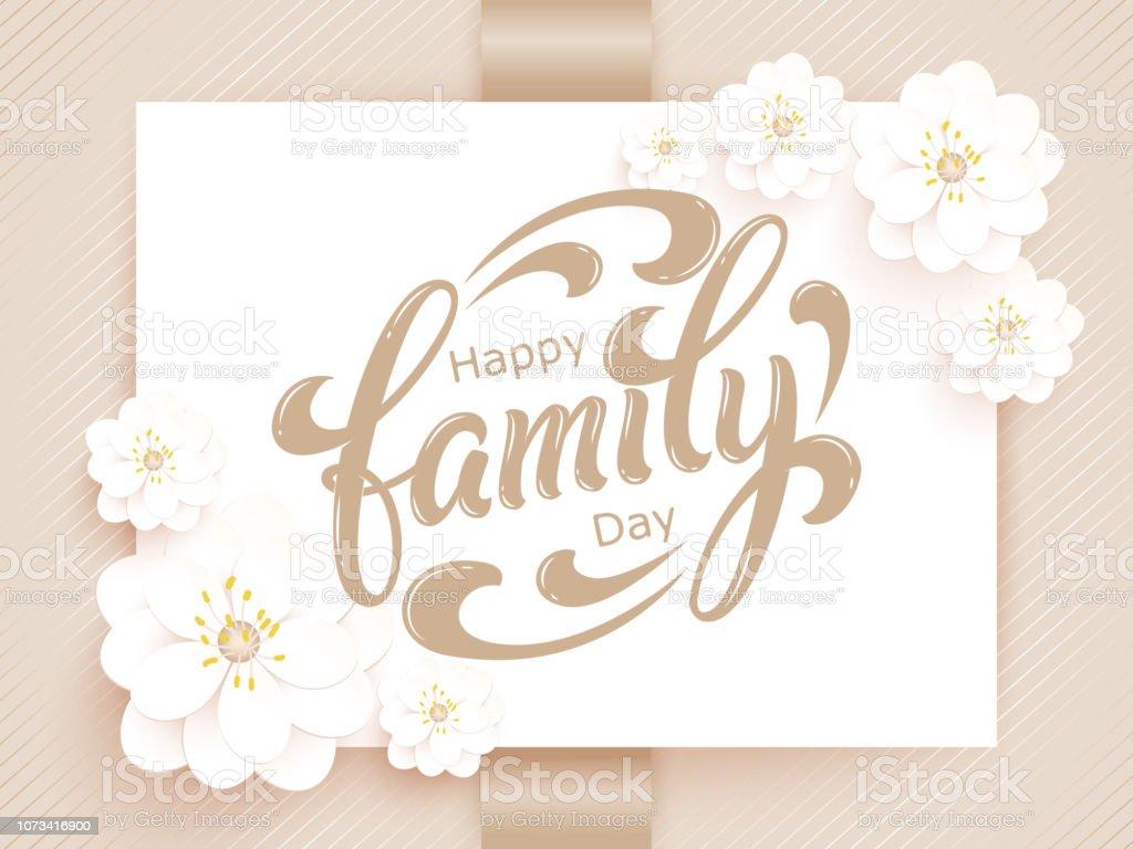 Ilustración De Tarjeta De Feliz Día De La Familia Vector Elegante Tarjeta De Invitación De Vector Con Fondo Y Marco Con Elementos De La Flor Y Bella