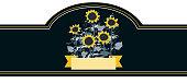 Elegant vector label for premium sunflower oil with doodle sunflowers. Black background