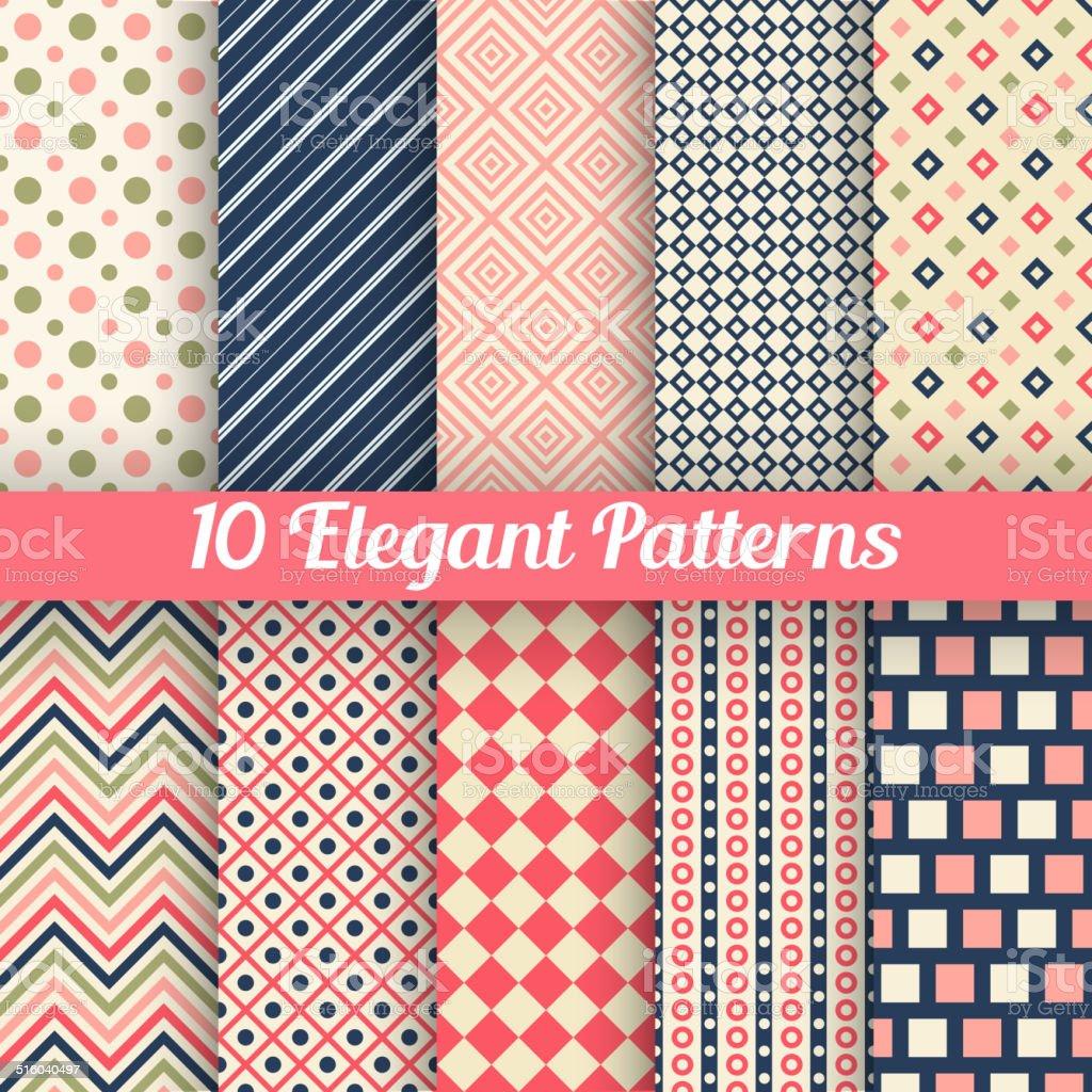 Elegant vector seamless patterns vector art illustration