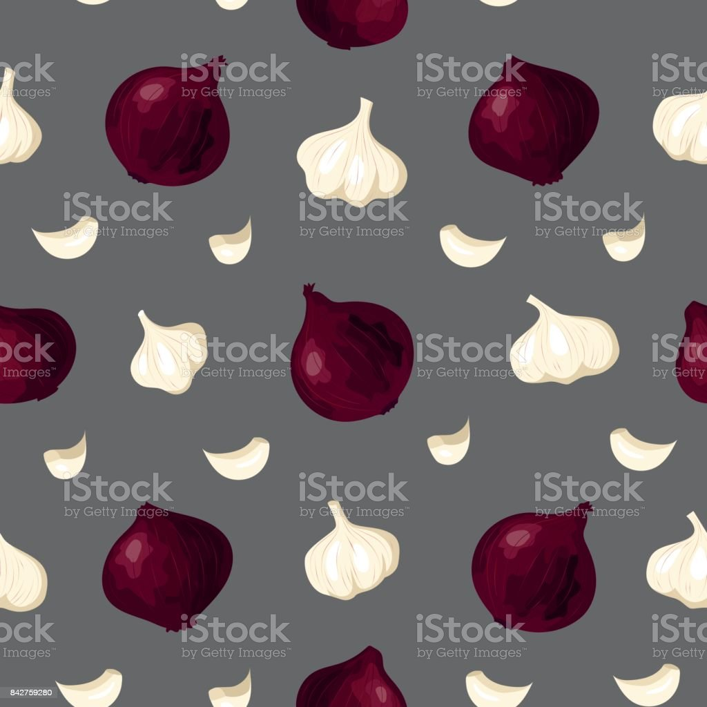 Elegant vegetable garlic red onion seamless pattern - Royalty-free Agriculture stock vector