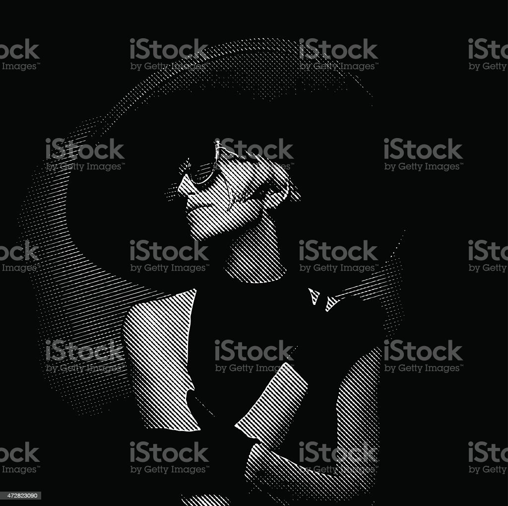 Elegant Vintage Diva Wearing Large Hat vector art illustration