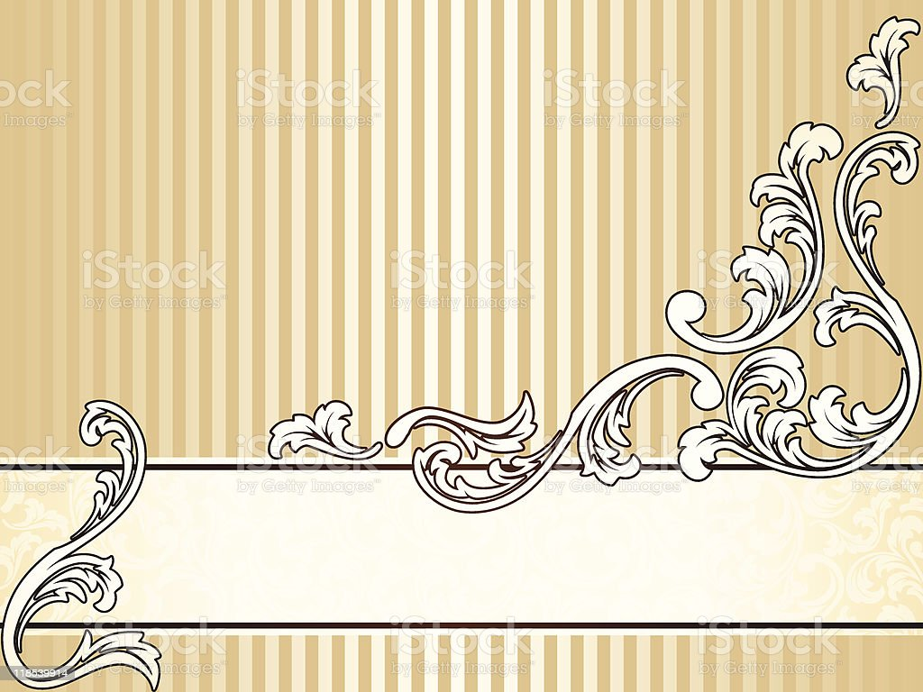 Elegant vintage sepia banner, horizontal vector art illustration