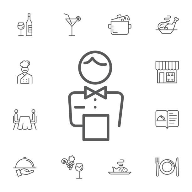 ilustrações, clipart, desenhos animados e ícones de ícone do personagem elegante garçom. ícones de linha simples conjunto de vetor de restaurante. - barman