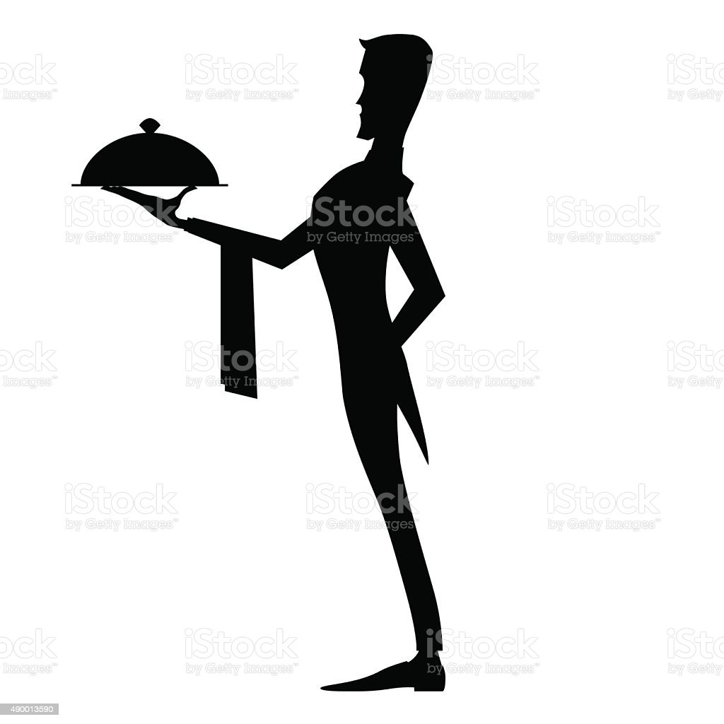 Elegant waiter with dish vector art illustration
