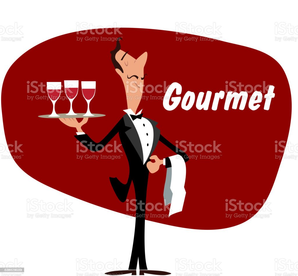 Elegant waiter with wineglasses vector art illustration