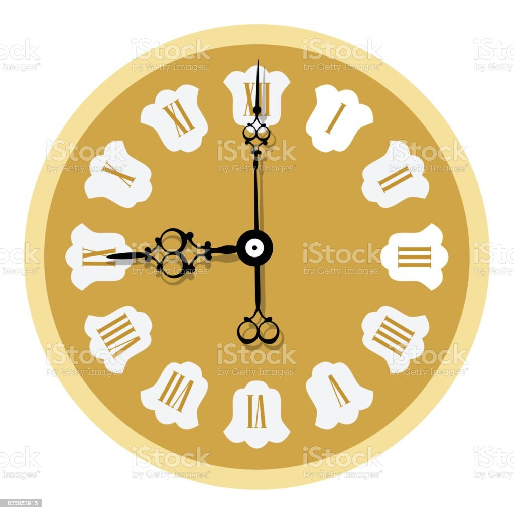 Elegant Wall Clock Stock Vector Art & More Images of Ancient ...