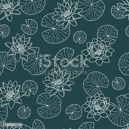 Elegant water lily with water leaves seamless pattern, romantic teal background, great for fashion prints, textiles, wrapping, wallpapers, banners - vector surface design