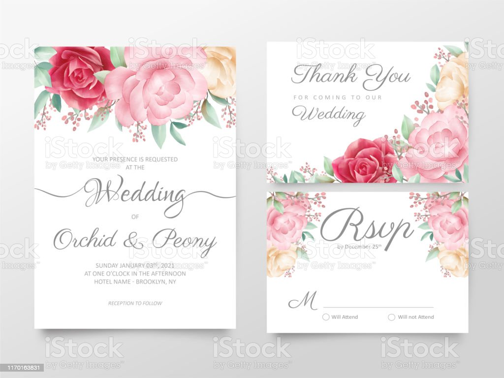 Elegant Watercolor Floral Wedding Invitation Cards Template