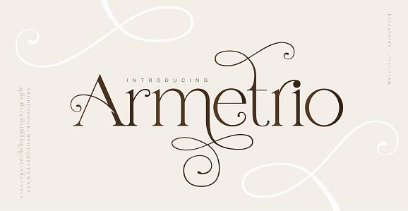 Elegant wedding alphabet letters font and number. Typography classic lettering serif fonts decorative vintage retro design concept. vector illustration