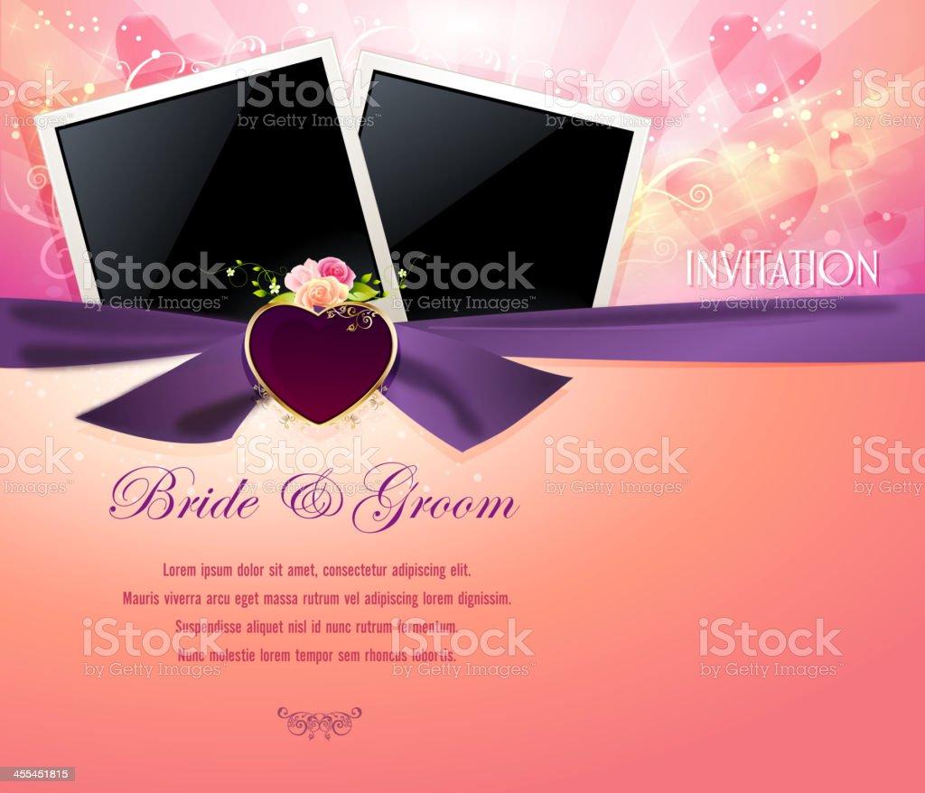 Elegant Wedding Background with Photo Frames royalty-free stock vector art