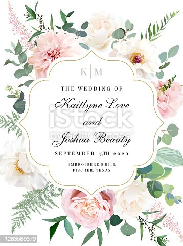 Elegant wedding card with summer flowers