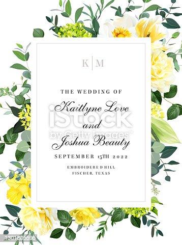 istock Elegant wedding card with summer flowers 1301805595