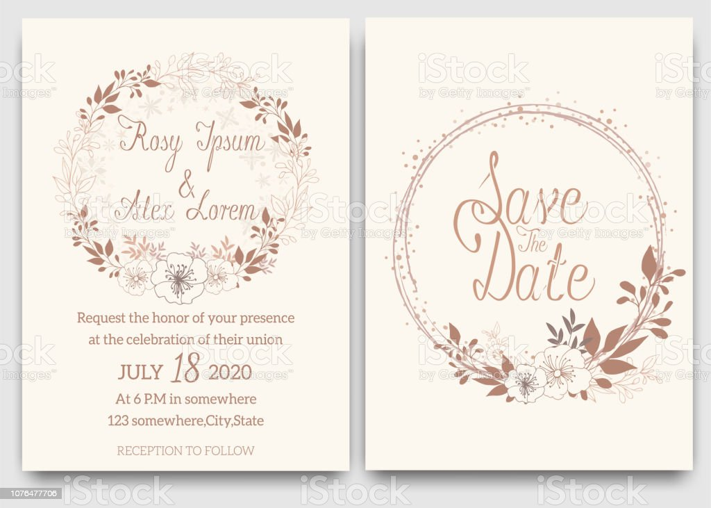 Elegant Wedding Cards Consist Of Various Kinds Of Flowers Stock