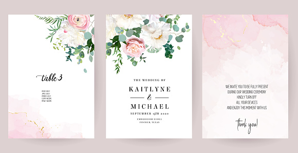 Elegant wedding cards with pink watercolor texture and spring flowers clipart