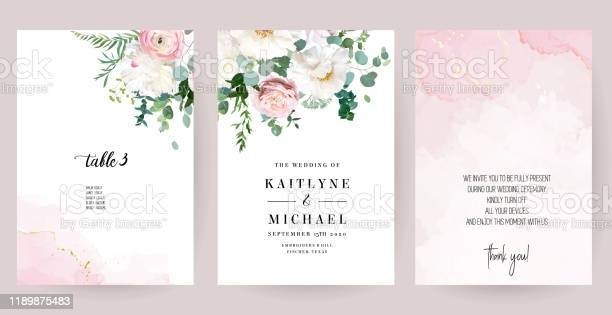 Elegant wedding cards with pink watercolor texture and spring flowers vector id1189875483?b=1&k=6&m=1189875483&s=612x612&h=4hfzqacufumv lyji4cadhn85ngegmomvmrkrn1j0t8=
