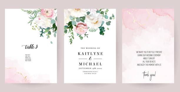 eleganckie karty ślubne z różową fakturą akwareli i wiosennymi kwiatami - różowy stock illustrations