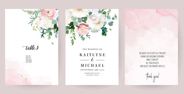 illustrazioni stock, clip art, cartoni animati e icone di tendenza di elegant wedding cards with pink watercolor texture and spring flowers - matrimonio