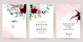 Retro delicate wedding cards with pink watercolor texture and flowers. White peony, pink ranunculus, dusty rose, eucalyptus, greenery. Floral vector design frame. Elements are isolated and editable