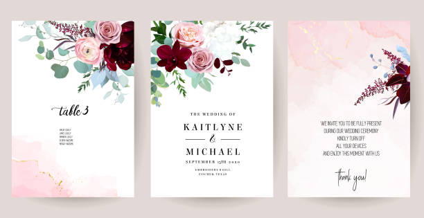 illustrazioni stock, clip art, cartoni animati e icone di tendenza di eleganti cartoline di nozze con texture ad acquerello rosa e fiori primaverili - rosa rossa