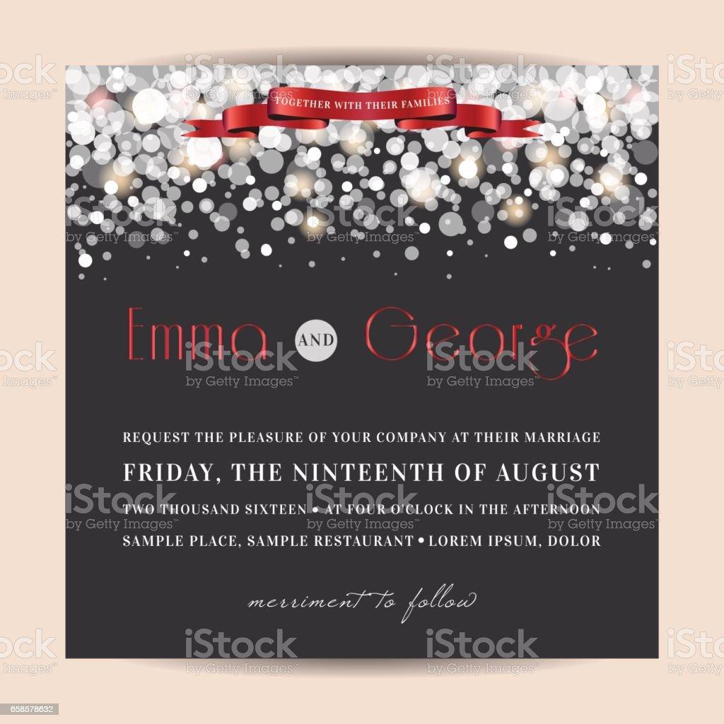 Elegant wedding invitaion, decorated with glowing glitter. - illustrazione arte vettoriale