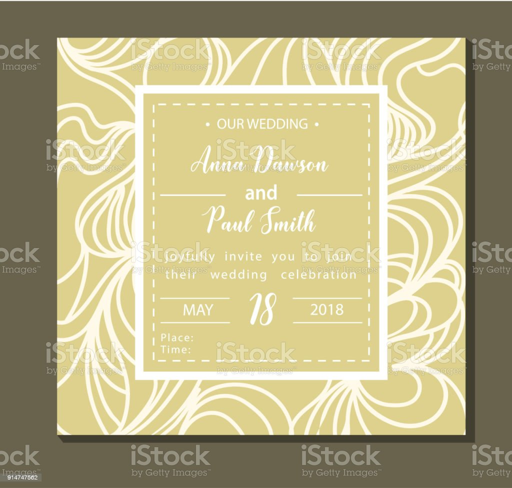 Elegant Wedding Invitation Background Card Design With White Abstract Ornament Stock Illustration Download Image Now Istock