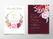 Elegant wedding invitation card template set with watercolor roses and peonies flowers. Botanic decorative save the date, greeting, thank you, rsvp cards.