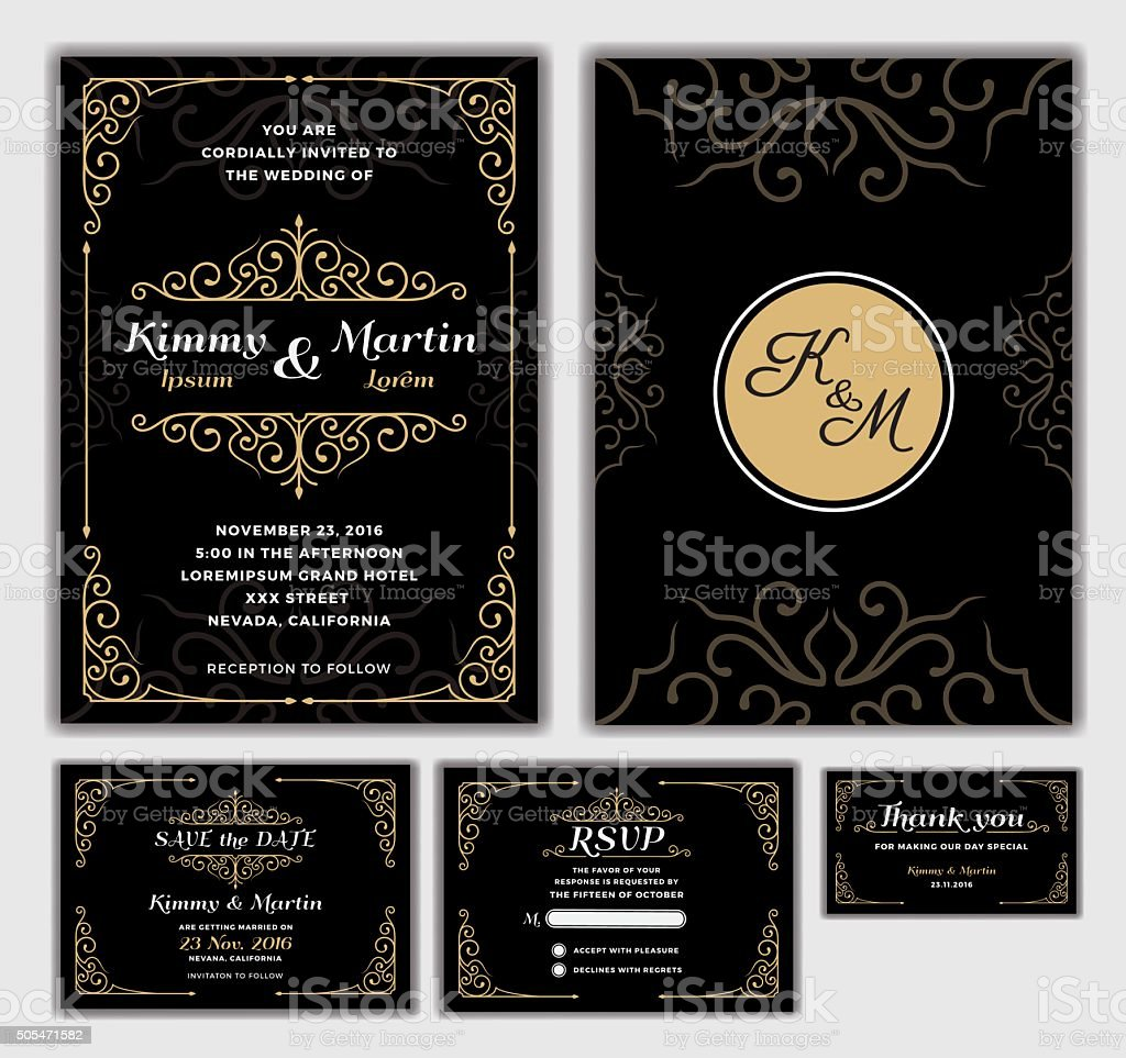 Elegant Wedding Invitation Design Template. vector art illustration