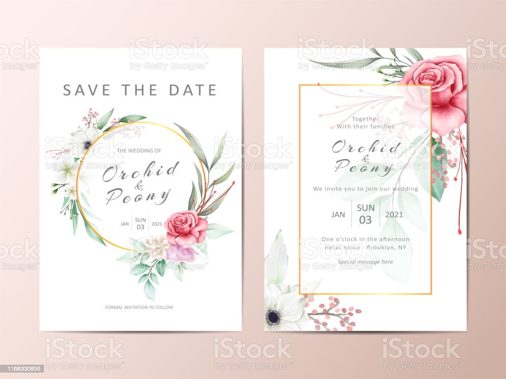 Elegant Wedding Invitation Template Cards With Watercolor Flowers And  Golden Frame Stock Illustration - Download Image Now - iStock