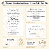 Elegant Wedding Stationery Vector Collection