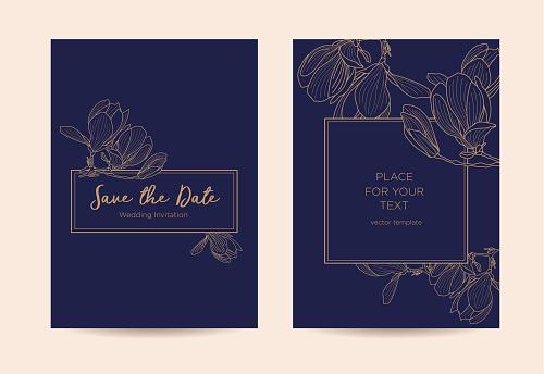 Elegant wedding invitation  with magnolia flowers.