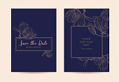 Golden graphic flowers on a dark blue background. Vector template for design of invitations, restaurant menu or spa.